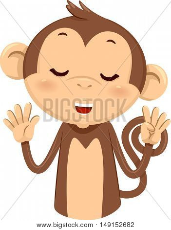 Mascot Illustration of a Cute Monkey Using His Fingers to Gesture the Number Nine