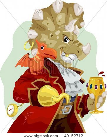 Mascot Illustration of a Triceratops Dressed as a Pirate with a Pterosaur Resting on its Shoulder Holding a Glass of Wine