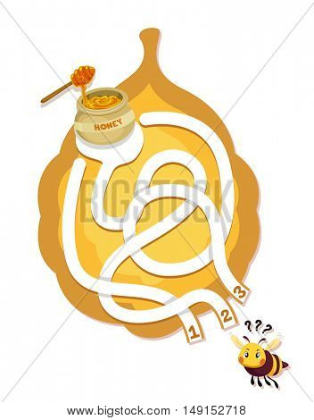 Illustration of a Hungry Honeybee Tracing His Way Around a Beehive Shaped Maze to Get His Bowl of Honey