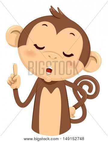 Mascot Illustration of a Cute Monkey Using His Fingers to Gesture the Number One