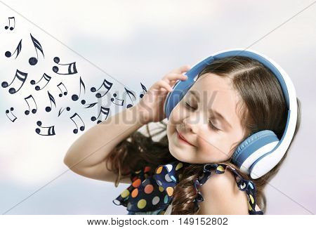 Little cute girl listening to music. Musical notes design on light background.