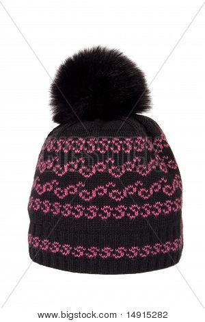 Knitted Cap With A Pompon