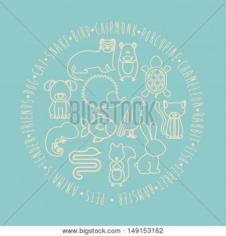 Set of animals. pet cartoon and nature theme. Blue design. Vector illustration