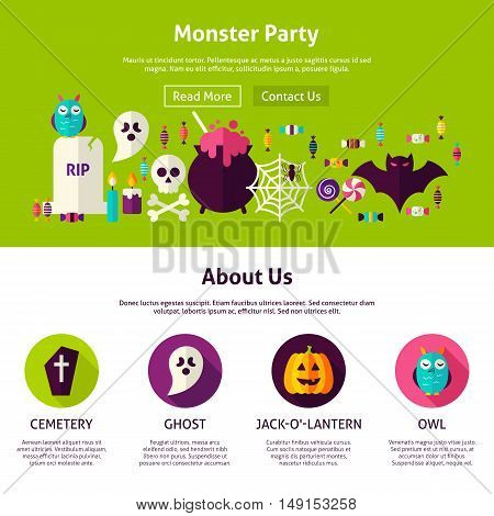 Monster Party Web Design Template. Flat Style Vector Illustration for Website Banner and Landing Page. Happy Halloween.