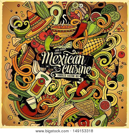 Cartoon cute doodles hand drawn Mexican food illustration. Colorful detailed, with lots of objects background. Funny vector artwork. Bright colors picture with Mexico cuisine theme items