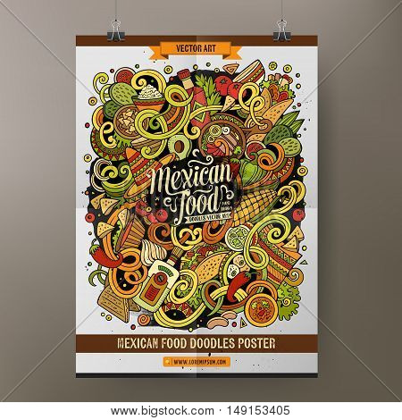Cartoon colorful hand drawn doodles Mexican food poster template. Very detailed, with lots of objects illustration. Funny vector artwork. Corporate identity design.