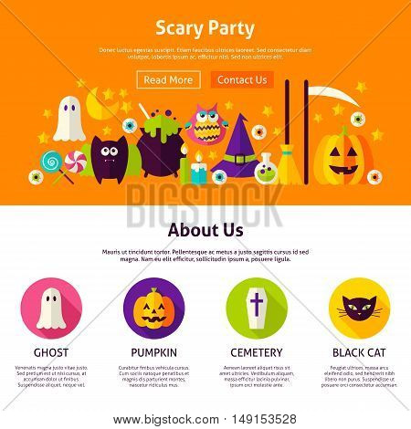 Scary Party Web Design Template. Flat Style Vector Illustration for Website Banner and Landing Page. Happy Halloween.