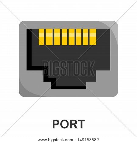 Lan port icon cartoon. Single PC icon from the big technology collection.