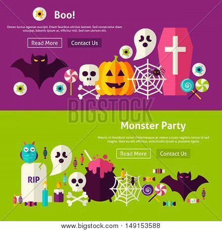 Scary Monster Party Website Banners. Vector Illustration for Web Header. Halloween Boo Modern Flat Design.