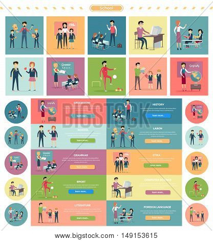 Set of school education. Illustrations for different school subject with related elements. Elementary school, learning, school knowledge. Teachers and pupils in different situations. Website template