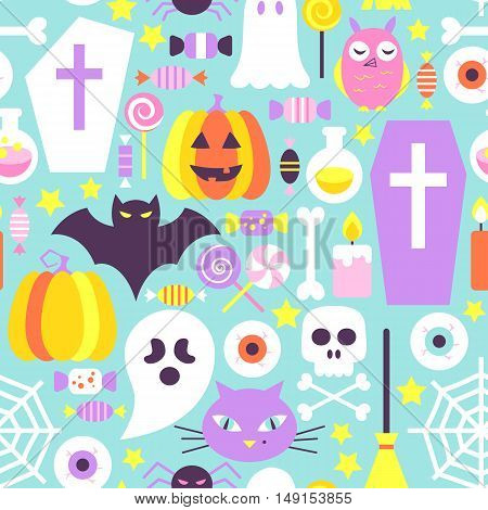 Trendy Colors Halloween Seamless Pattern. Flat Style Vector Modern Texture Background. Trick or Treat.