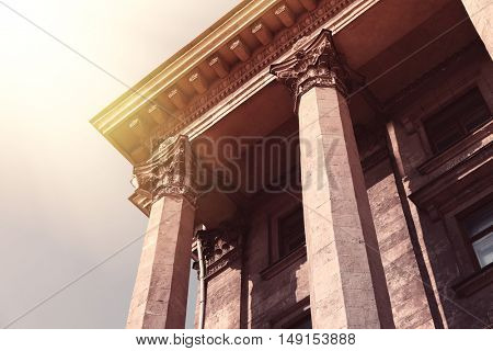 Pillars of courthouse in retro style