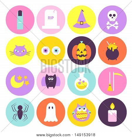 Halloween Circle Icons Set. Flat Style Vector Illustration in Trendy Colors. Scary Party Holiday. Trick or Treat.