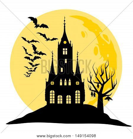 Halloween view of castle, moon, bats and hill. Silhouette black and yellow vector illustration.
