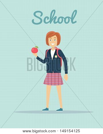 School concept vector. Flat design. Smiling pupil girl in uniform with backpack and apple in hand standing on  blue background. Children education, school years, students clothes style illustrating.