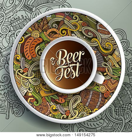 Vector illustration with a Cup of coffee and hand drawn Octoberfest doodles on a saucer and on the background