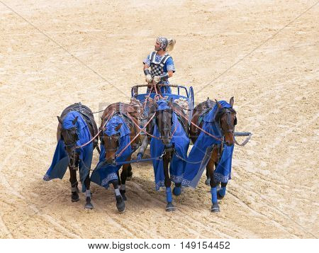 Roman chariot race show in Puy du Fou France - October 2012