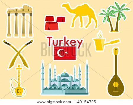 Turkey Stickers. Turkish Symbols: The Blue Mosque, The Agora, The Turkish Hat, Shisha, Camel, Scimit