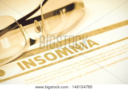 Diagnosis - Insomnia. Medical Concept on Red Background with Blurred Text and Eyeglasses. Selective Focus. 3D Rendering.