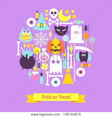 Trick or Treat Halloween Trendy Concept. Flat Design Vector Illustration. Set of Scary Party Items.