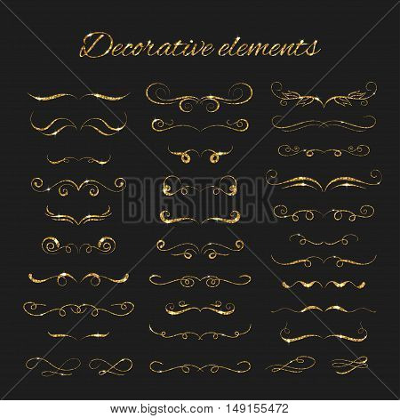 Dividers set. Vector gold ornate design. Golden flourishes. Hand drawn decorative swirls with glitter effect. Calligraphic decorations with sparkles.