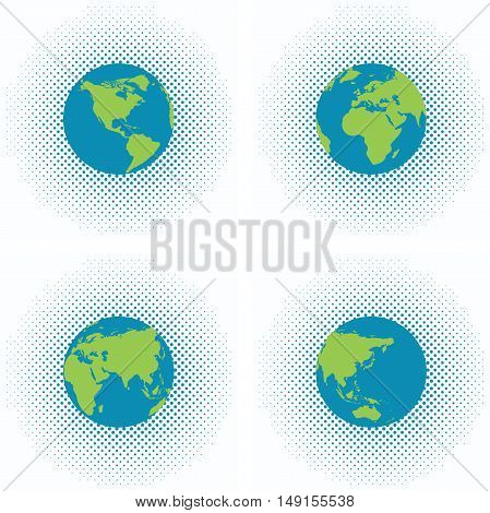 vector dotted halftone backgrounds with earth globe