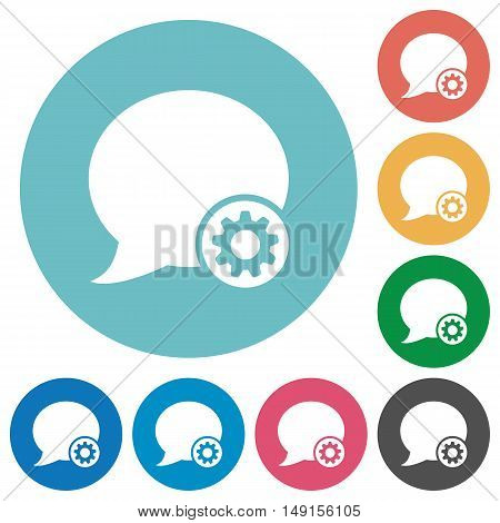 Flat blog comment settings icon set on round color background.
