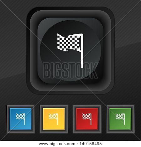 Racing Flag Icon Symbol. Set Of Five Colorful, Stylish Buttons On Black Texture For Your Design. Vec