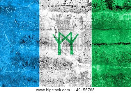 Flag Of Montgomery Village, Maryland, Usa, Painted On Dirty Wall