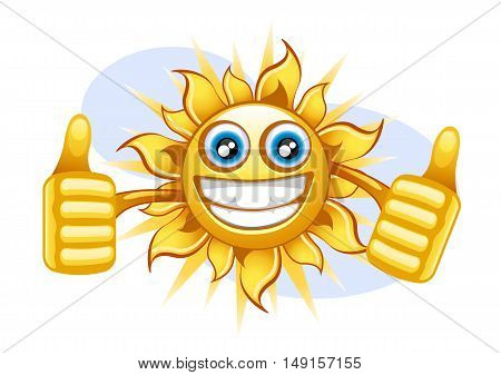 Happy yellow sun with blue eyes smiling in the summer