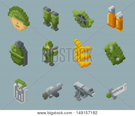 Isometric pixel soldiers and weapons vector icons. Weapon and grenade, binoculars and gun in pixel design, illustration pixel object for war
