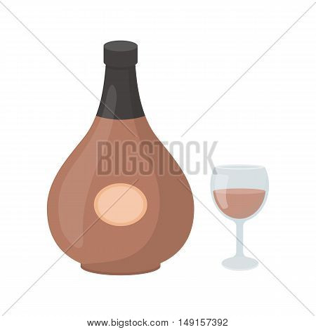 Cognac icon in cartoon style isolated on white background. Alcohol symbol vector illustration.