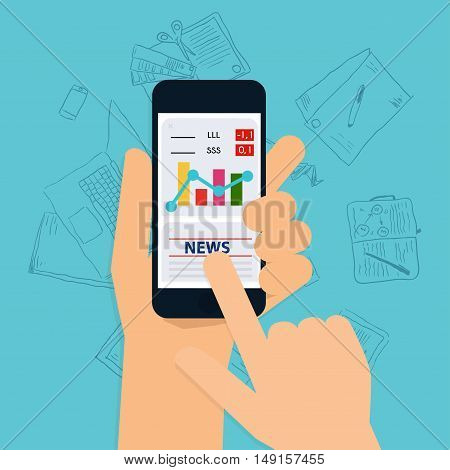 Hand Holding Mobile Smart Phone With Business Application. Flat Design Style Modern Vector Illustrat