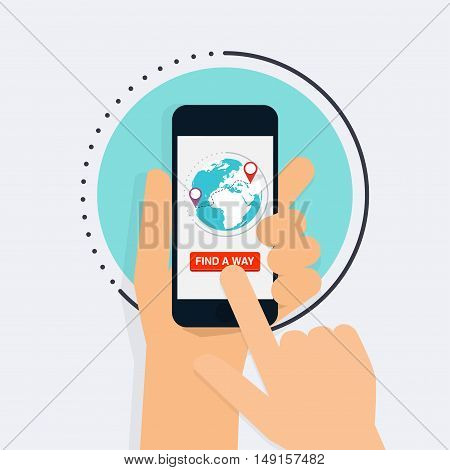 Hand Holding Mobile Smart Phone With Find A Way App. Map On Smart Phone. Navigation Concept. Vector