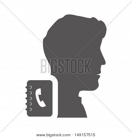 avatar man person male user with directory notebook icon silhouette. vector illustration