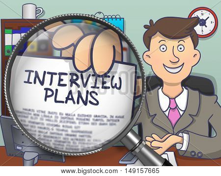 Interview Plans through Magnifier. Business Man Holds Out a Concept on Paper. Closeup View. Colored Modern Line Illustration in Doodle Style.