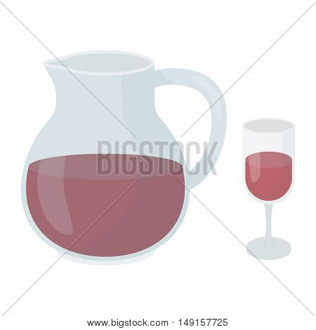 Sangria icon in cartoon style isolated on white background. Alcohol symbol vector illustration.