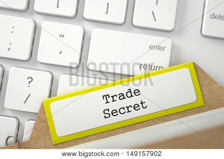 Trade Secret. Yellow Index Card Overlies White Modern Keypad. Archive Concept. Closeup View. Selective Focus. 3D Rendering.