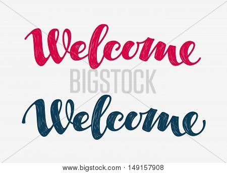 Welcome doodle. Lettering calligraphic inscription. Vector illustration