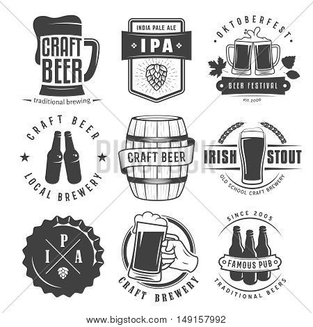 Vector craft beer badges and logos. Set of retro beer labels