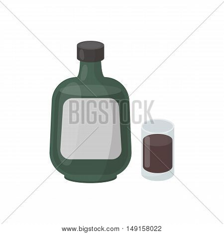 Herbal liqueur icon in cartoon style isolated on white background. Alcohol symbol vector illustration.