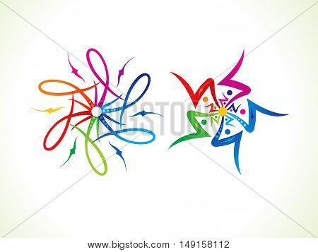 abstract artistic multiple colorful floral vector illustration