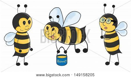 Bee bug set vector illustration.Made with love