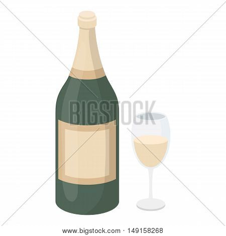Champagne icon in cartoon style isolated on white background. Alcohol symbol vector illustration.