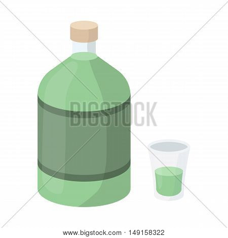 Absinthe icon in cartoon style isolated on white background. Alcohol symbol vector illustration.