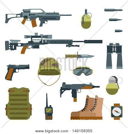 Military armor and weapon guns icons flat set. Automatic weapon and protective goggles, illustration grenade helmet and sniper weapon