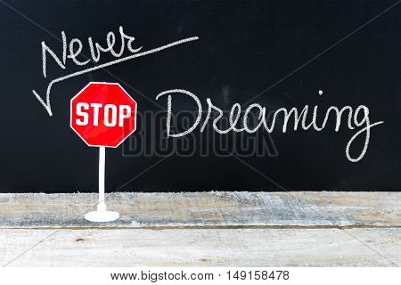 Never Stop Dreaming Message Written On Chalkboard