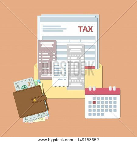 Tax day design. Payment State taxes and invoices. Open envelope with tax, checks, bills, purse with money, calendar with red date. Flat vector illustration.