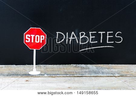 Stop Diabetes Message Written On Chalkboard