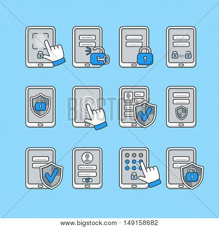 Smartphone security concept. Vector icons set of mobile security. Password key and lock on smartphone. Signs to protect the phone.
